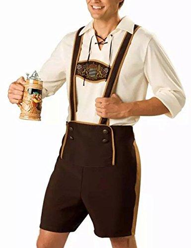 RONSHIN Original bayerische Lederhose Männer Oktoberfest Kleidung Set Tops + Hosenträger Hosen Männlich XL (Halloween-kostüme Männliche Original)