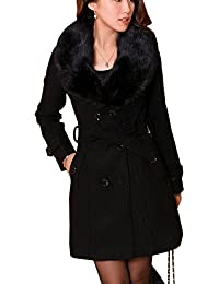 a26169699a6a Bestfort Mantel Damen Elegant Trenchcoat Wintermantel Warm Gefüttert Revers  Lange Ärmel Wollmantel Übergangsmantel…