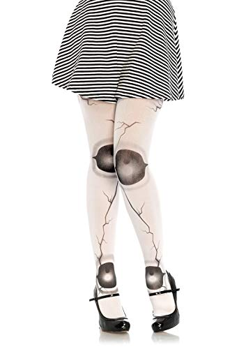 LEG AVENUE 7736 - Cracked doll pantyhose, Einheitsgröße (Weiß Schwarz) (Broken Dolls Kostüm)