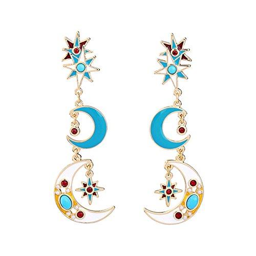 Qinlee Retro Ohrringe Sterne Mond Stil Ohrhänger Ohrstecker Mode Ohrschmuck Hochzeiten Bankette Party Schmuck für Damen Mädchen (Blau)