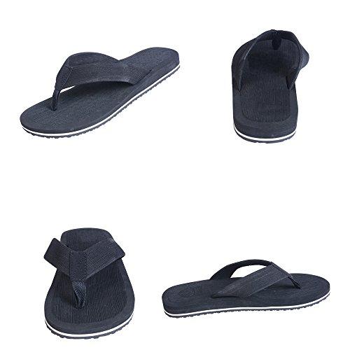 Vertvie Herren Sommer Schuhe Strand Sandalen Indoor Outdoor Slipper Zehentrenner Pantoletten Flip Flop, Schwarz, 42 EU