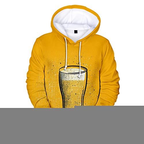 Chejarirty Oktoberfest Kostüm Herren Hoodie 3D Gedruckt Biermuster Freizeit Kapuzenpullover Langarm Sweatshirt Kapuzenjacke Mit Taschen Cosplay Outfits Traditionelle Kleidung (4XL, Gelb)