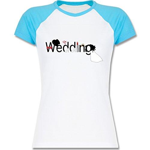 JGA Junggesellinnenabschied - Wedding - zweifarbiges Baseballshirt / Raglan T-Shirt für Damen Weiß/Türkis