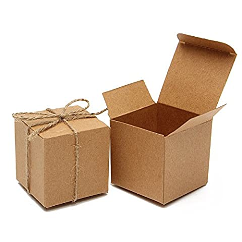 Soviton Sweets Candy Boxes 50pcs Brown Wedding Birthday Party Favor Gift