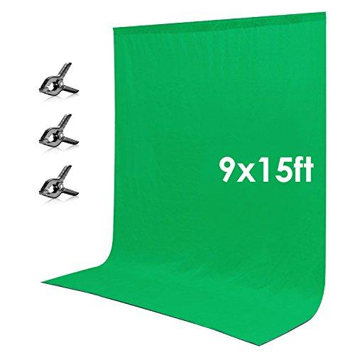 Neewer 2.7x4.6 Meter Chromakey Musselin Hintergrund Grün Bildschirm mit 3 Studioklemmen für Fotostudio Video Fotografie