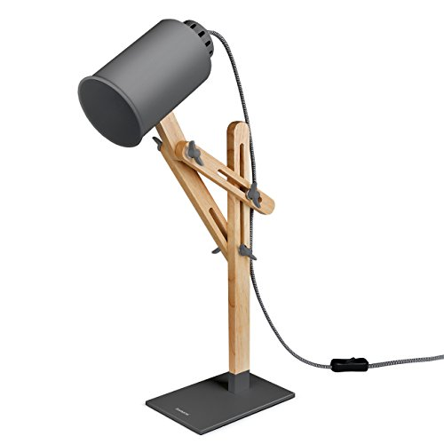Lámpara de escritorio de madera con brazo giratorio Tomons