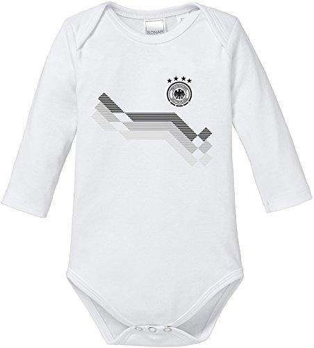 EZYshirt WM 2018 Deutschland   WM Bomber   Wunschname Wunschnummer   Baby Body Langarm Bio Baumwolle