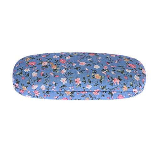 Healifty Brillenschutz Portable Floral bedruckte Sonnenbrille harte Brillen Fall Eyewear Protector Box Tasche (blau)