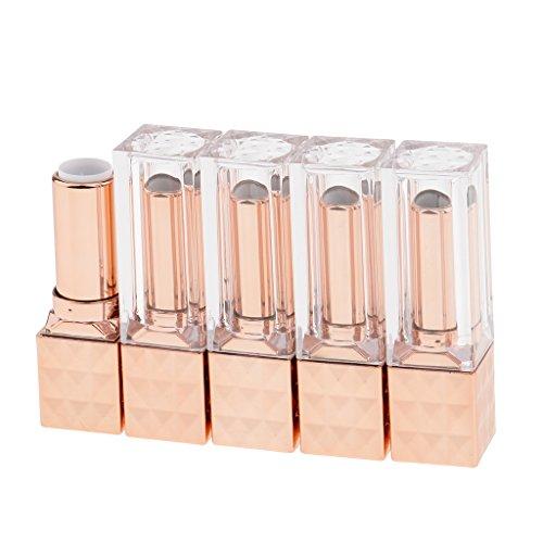 Sharplace 5pcs 12ml Tube Vide de Rouge à Lèvres Cosmétique Récipient de Baume à Lèvres Mini Conteneur de Lip Balm - Rose Dorée