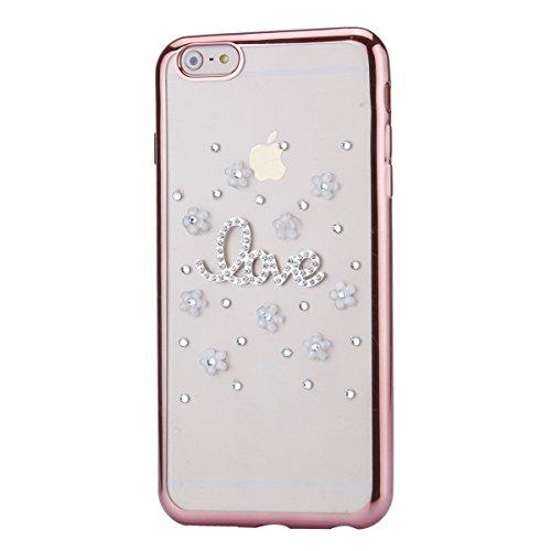 iPhone 6 Plus Hülle,iPhone 6s Plus Case,iPhone 6 Plus Bling Case - Felfy Ultradünne Transparent Gel TPU Silikon Diamond Skin Bling Glitte Kristall Schutzfolie Glitzer Silber Silikon Crystal Case Durch C08