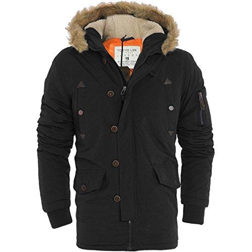 Mens pesanti Parka giacca con cappuccio pelliccia cappotto invernale (Liam) by Tokyo Lee (Taglie) Black XL