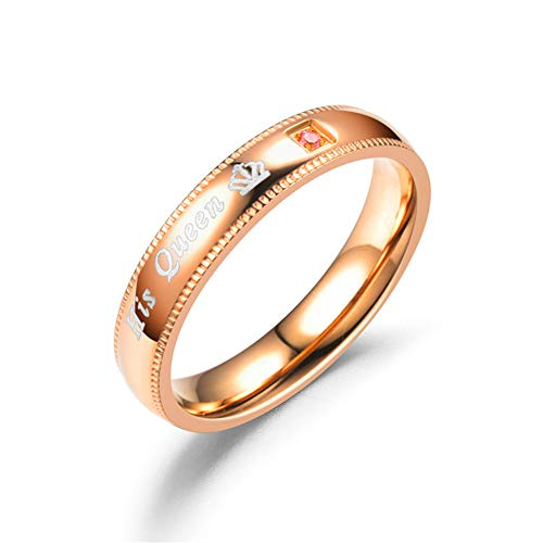 Flyes due pezzi coordinato set couple rings his queen and her king stainless steel promise rings band san valentino coppie regali, golden, women size6