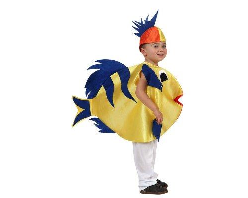 ATOSA Süsser Fisch Kinderkostüm Tierkostüm blau-gelb 134/146 (7-9 Jahre)