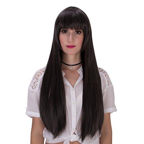 Las mujeres de largo recto Patchwork Halloween Cosplay peluca con Cap 27,5