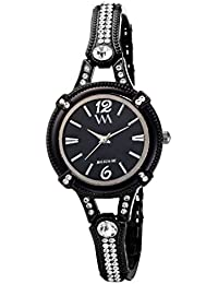 Watch Me Black Dial Black Stainless Steel Strap Analog Watch For Girls WMAL-119-Btwm