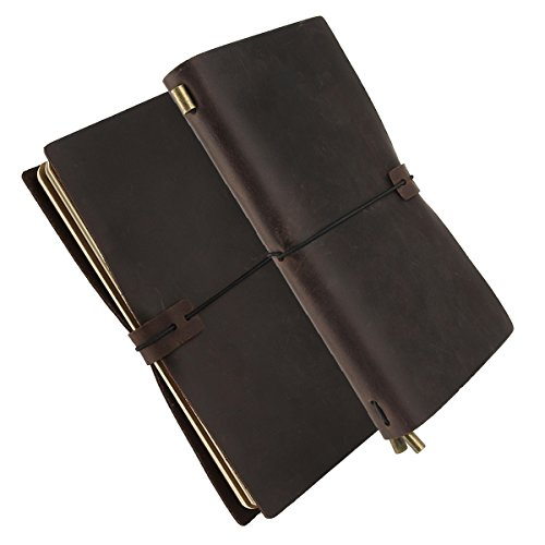 Handgefertigt Notizbuch Leder Vintage Handbuch Journal Notebook nachfüllbar, SOONHUA Original Leder...