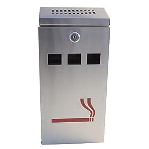 FURNISHED Silberfarbener Wandmontage für den Außenbereich mit Zigaretten-Aschenbecher aus Edelstahl, Metall, Silber