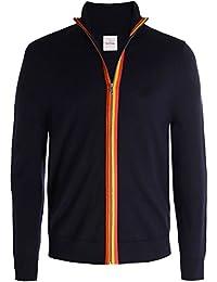 Paul Smith Hommes par le biais de zip cardigan en mérinos laine Marine Foncé
