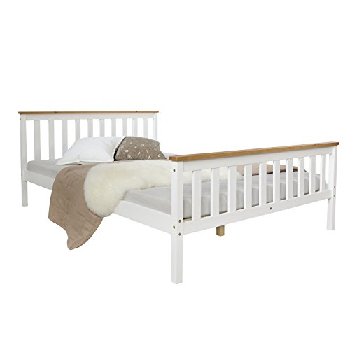 Homestyle4u 1843 Holzbett 140x200 cm weiß Doppelbett mit Lattenrost aus Kiefer Massivholz