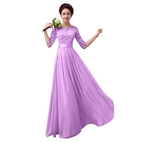 Damen Frauen Brautjungfernkleid Lang Abendkleider mit Spitze Halbe Ärmel Brautkleid Partykleider...