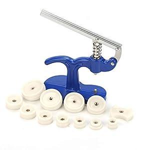 Cocoarm Uhr Einpresswerkzeug Uhrwerkzeug Gehäuseschließer Einpresswerkzeug Uhrendeckelpresse Uhr Reparatur Werkzeug mit 12 Druckplatten Kunststoffeinsätze Größe von 18 mm bis 50 mm