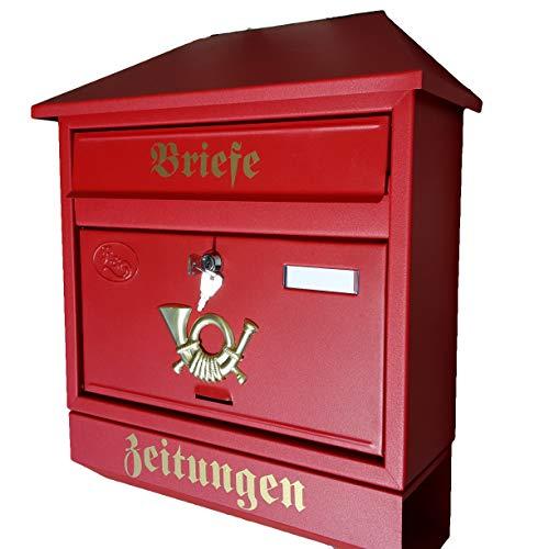 Naturholz-Schreinermeister Großer Briefkasten/Postkasten XXL Rot/Matt mit Zeitungsrolle...