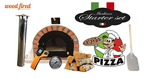 Grey Pro Deluxe Wood Fired Pizza Oven Starter Kit, Orange Arch, Cast Iron Window Door, 90cm x 90cm