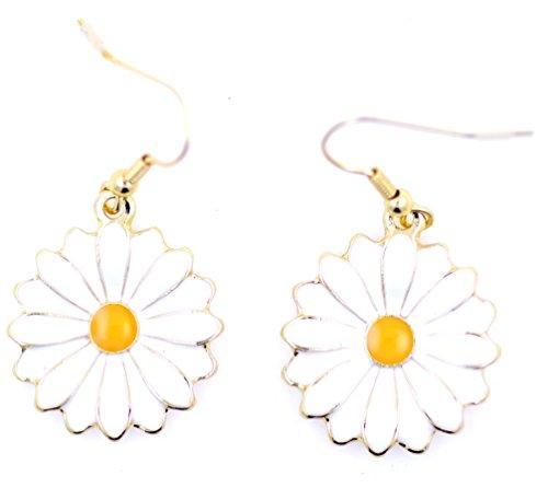 lizzyoftheflowers–lizzyoftheflowers. Gold und Weiß Emaille Daisy Blume baumeln Ohrringe, 50er, 60er Jahre Retro