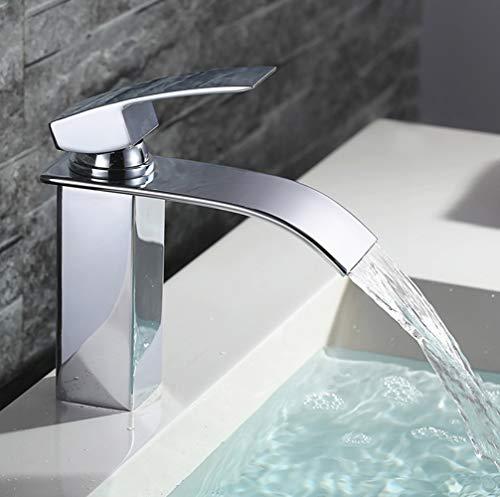 Homelody Wasserhahn Wasserfall Bad Mischbatterie Badarmatur Einhebelmischer Waschbecken Waschtisch Armatur für Badezimmer Mischbatterie