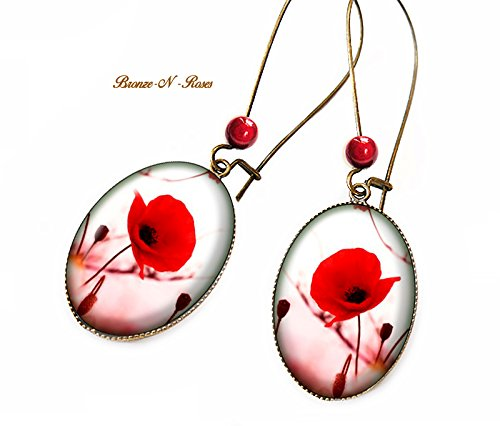 Boucles d'oreilles Jolie coquelicot cabochon bronze verre fleur