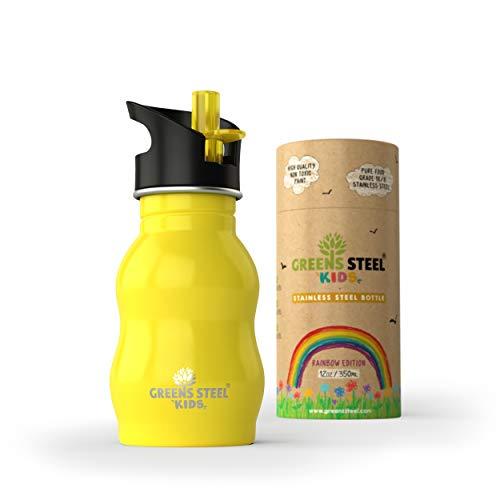 Borraccia Acciaio Inossidabile Bambini 350ml borraccia Antigoccia Sportiva con Tappo e Cannuccia Bottiglia Ottima per Bambini Piccoli