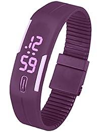 Silicone Montre - SODIAL(R)Sports Caoutchouc Silicone Blanc LED Montre Digitale Bracelet Homme Femmes Violet