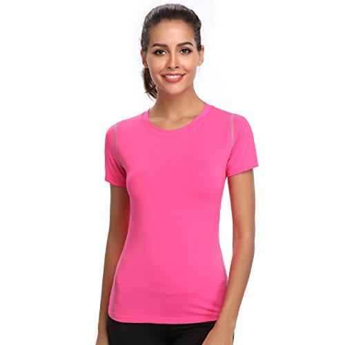 Joyshaper Training Top Damen Yoga Fitness Top T Shirt Quick Dry Kompression Sport Tanktop Sportshirt Trainingsshirt Shirt T-Shirt Running (Pink, X-Large)