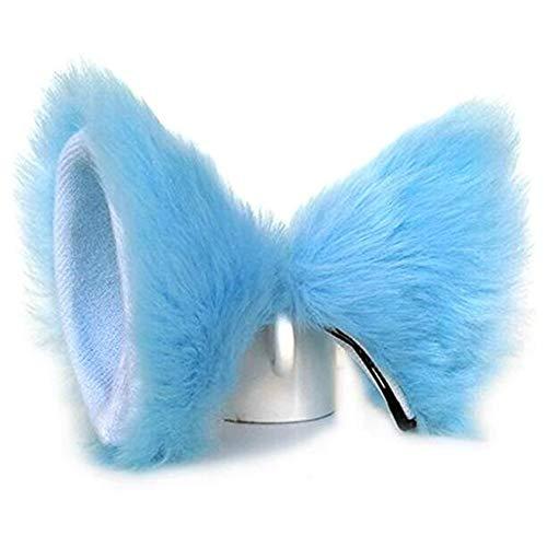 JUNBOON Pelz Katze Fuchs Ohren Haarspange Headwear Anime Cosplay Stirnband Halloween Party Kostüm Zubehör(blue)