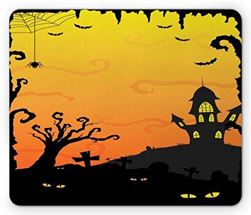 Halloween Mouse Pad, Halloween at Gothic Castle Creepy Yellow Eyes in Forest, Standard Size Rectangle Non-Slip Rubber Mousepad, Mustard Yellow Pale Orange and Black