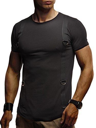 LEIF NELSON Herren Jungen Männer T-Shirt, Crew Neck, Schwarz, X-Large