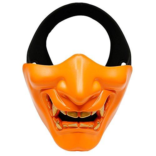 Sturmhauben Maske, QMFIVE Dämon Half Face Schutz für Halloween Airsoft / BB Gun / CS Spiel / Jagd / Schießen Cosplay Kostüm Party und Movie Prop(Orange) (Dämon Halloween Kostüme)
