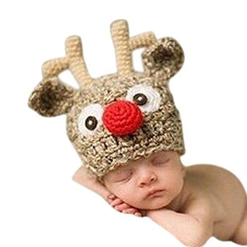 NUOLUX Weihnachten Baby Handarbeit gestrickt häkeln stricken Rentier Hut Geweih Foto Fotografie Prop