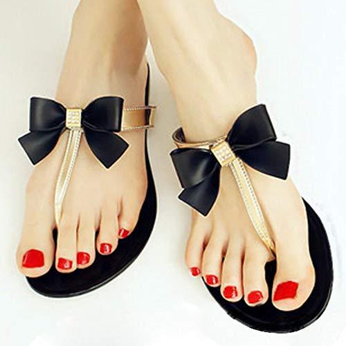 QIMITE Damen-Zehentrenner Frauen Schuhe Jelly Jelly Flip Flop Sandalen Damen Flache Schuhe Frauen Schuhe, Photo Color, 38