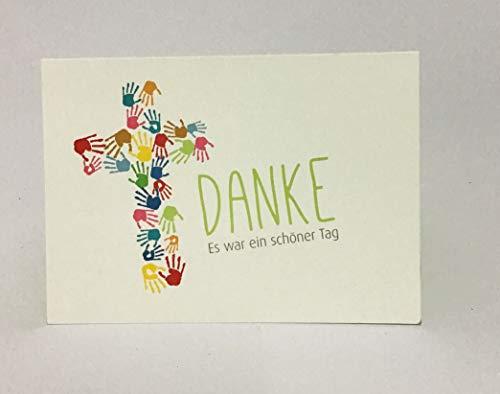 """5 Hochwertige Danksagungskarten Doppelkarte - Klappkarte """"Danke"""" Kommunion""""Kreuz aus Kinderhänden"""" C6 mit farbigem Umschlag"""