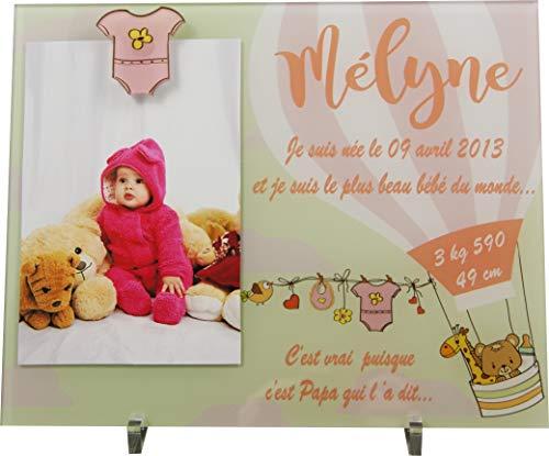 Cadre Photo Naissance - Cadeau de Naissance personnalisé avec le prénom du bébé - idéal pour la liste de naissance - pour fille ou garçon - Kd-iF