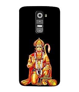 PrintVisa Designer Back Case Cover for LG G3 Mini (Hanuman Ji Sitting In Black Background)