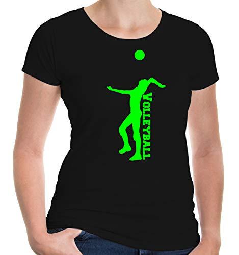 buXsbaum® Damen Kurzarm Girlie T-Shirt bedruckt Volleyball V2 | Mannschaft Ballsport Team | XXL black-neongreen Schwarz