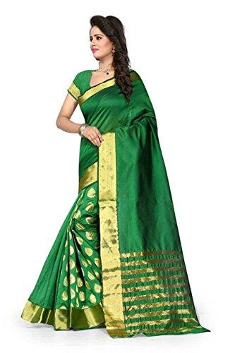 Sarees (Shailaja SareesDesigner and partywear Cotton Silk Green silk sarees for women Embroidered Goli Work Saree by shailaja Best for online buying sarees )