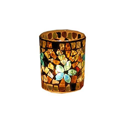 Lot de 2 bougeoirs en cristal Motif mosaïque porte-bougies chauffe-plat Doré
