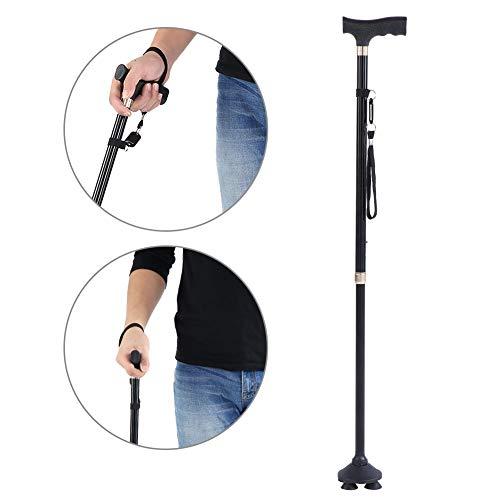 Semme pieghevole cane, bastone da passeggio in metallo con manico a t peso leggero pieghevole anziani passeggini di sicurezza per donne e uomini