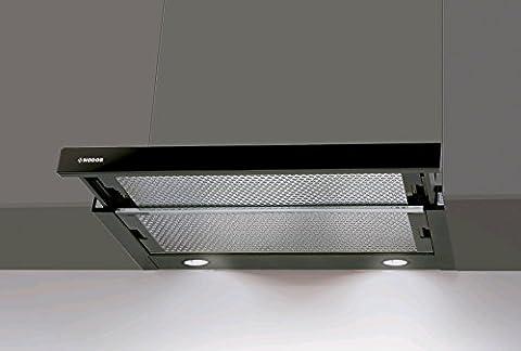 Flachschirmhaube Nodor 60cm mit Schwarzglas Blende/Einbau Dunstabzugshaube mit starkem Motor 650m³/h/ ECO LED Beleuchtung/Abzugshaube/Einbauhaube/Ablufthaube/Umlufthaube/