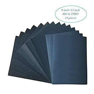 Sandpaper,80-2500# Waterproof Dry/Wet Sanding Sheets for Car/Wood/Wall/Jade/Jewelry/Stone/Lacquer/Metal/Glass,14 Pcs 9x11 Inch