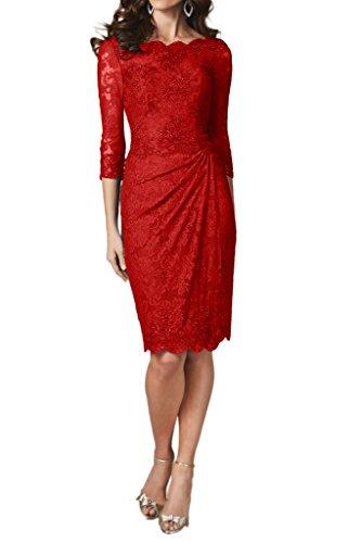 Ivydressing Damen 3/4 Aermel Etui-Linie Spitze KnieKurz Festkleid Promkleid Abendkleider Rot
