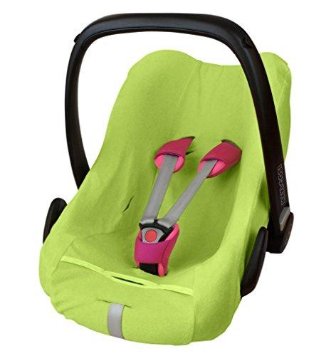 ByBoom - Frottee Sommerbezug, Schonbezug für Babyschale, Autositz, z.B. Maxi Cosi CabrioFix, City, Pebble; Designed in Germany, MADE IN EU, Farbe:Limette